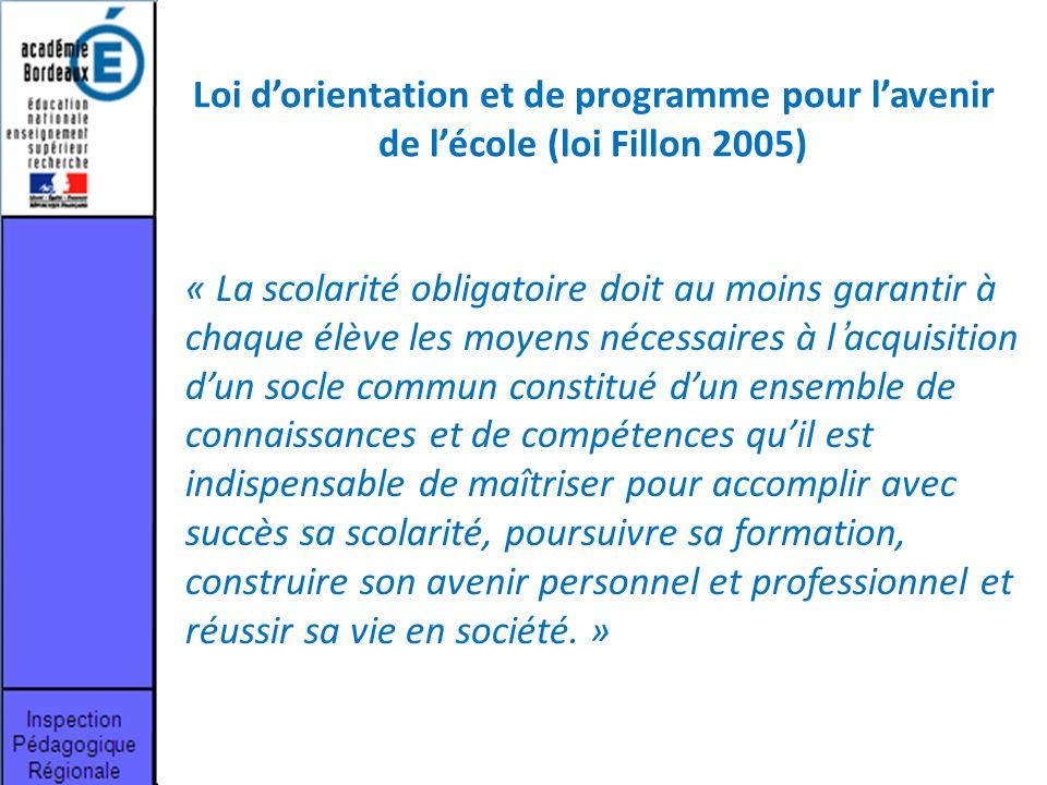Loi d'orientation et de programme pour l'avenir de l'école (loi Fillon 2005)