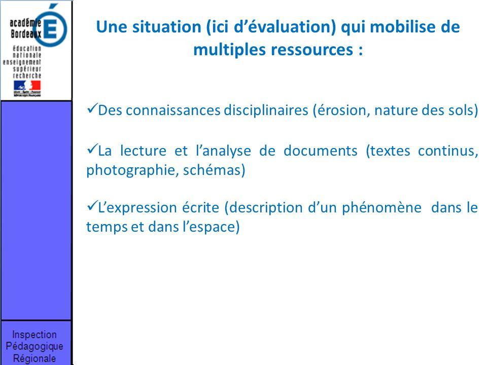 Une situation (ici d'évaluation) qui mobilise de multiples ressources :