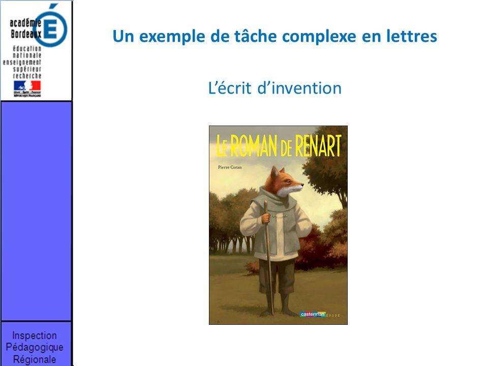 Un exemple de tâche complexe en lettres
