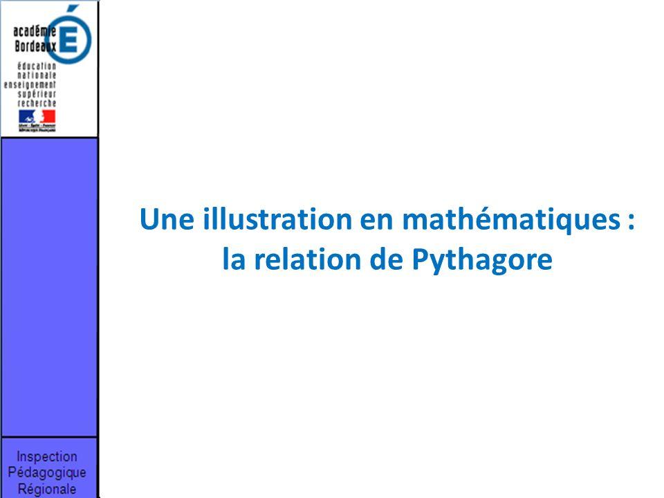 Une illustration en mathématiques : la relation de Pythagore