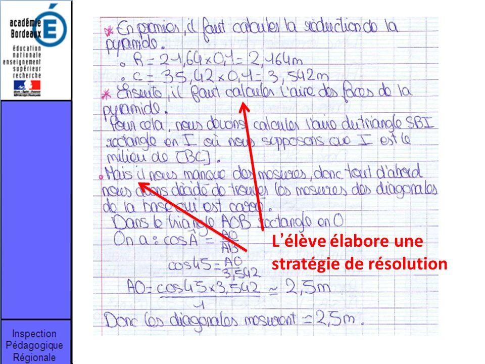 L'élève élabore une stratégie de résolution
