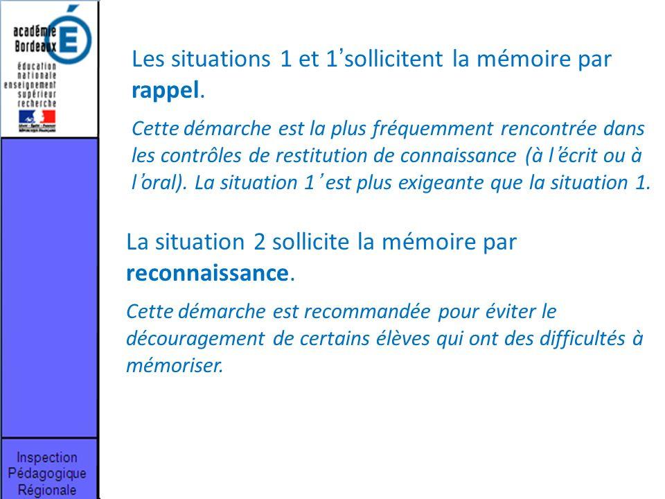 Les situations 1 et 1'sollicitent la mémoire par rappel