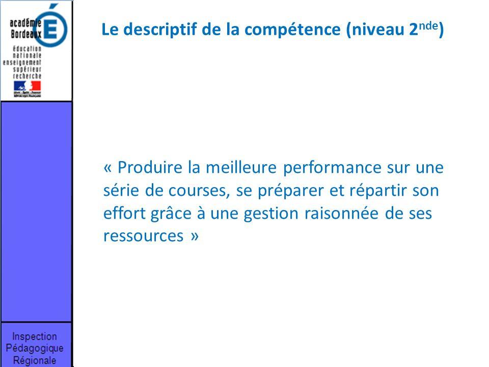 Le descriptif de la compétence (niveau 2nde)