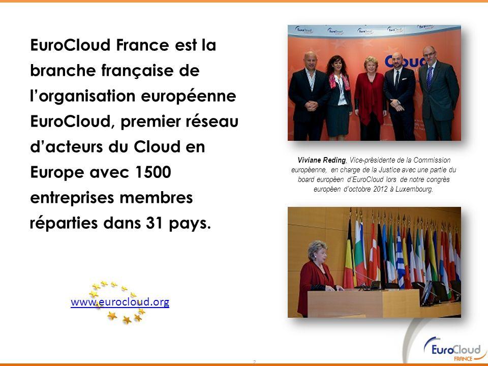 EuroCloud France est la branche française de l'organisation européenne EuroCloud, premier réseau d'acteurs du Cloud en Europe avec 1500 entreprises membres réparties dans 31 pays.