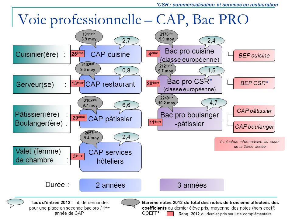 Voie professionnelle – CAP, Bac PRO