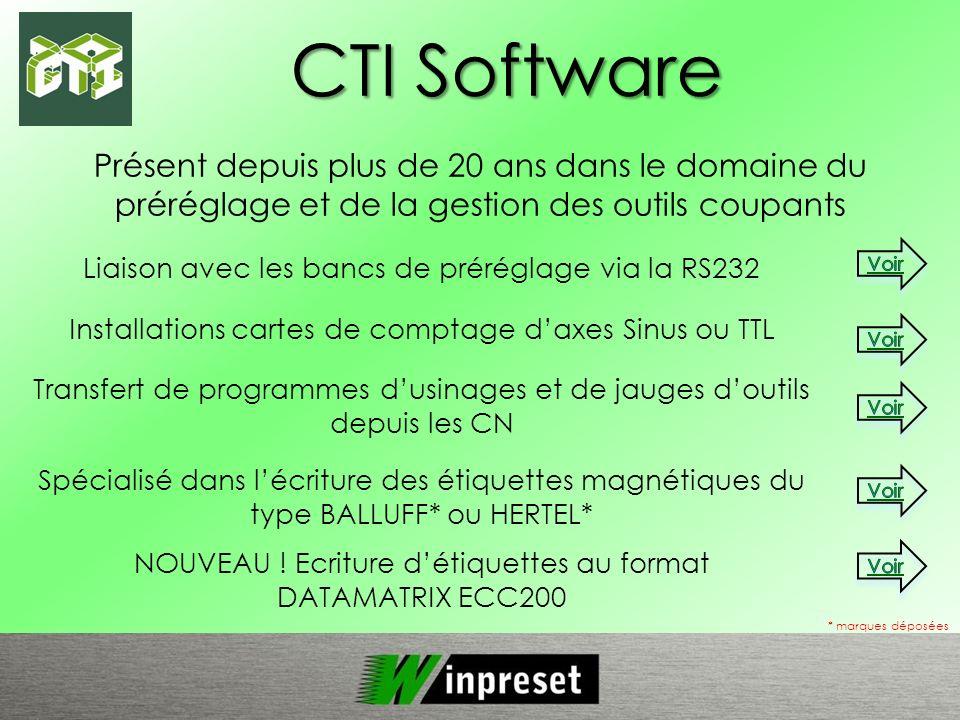 CTI Software Présent depuis plus de 20 ans dans le domaine du préréglage et de la gestion des outils coupants.