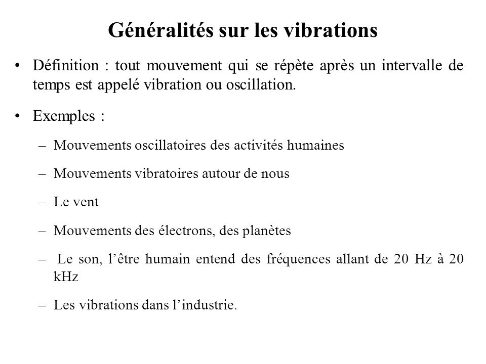 Généralités sur les vibrations
