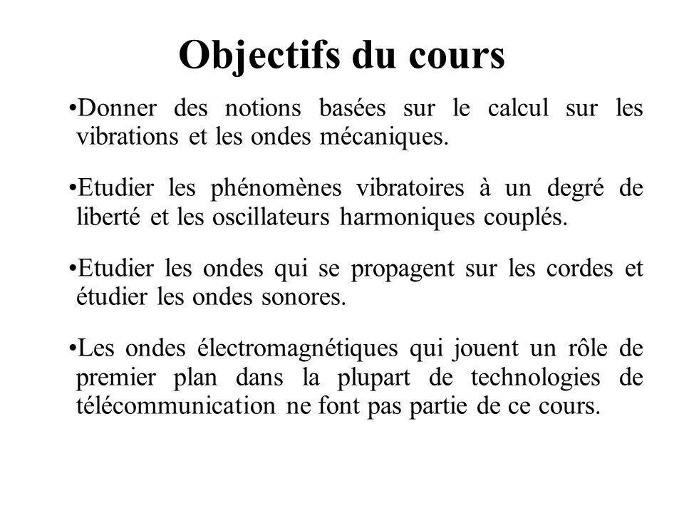 Objectifs du cours Donner des notions basées sur le calcul sur les vibrations et les ondes mécaniques.
