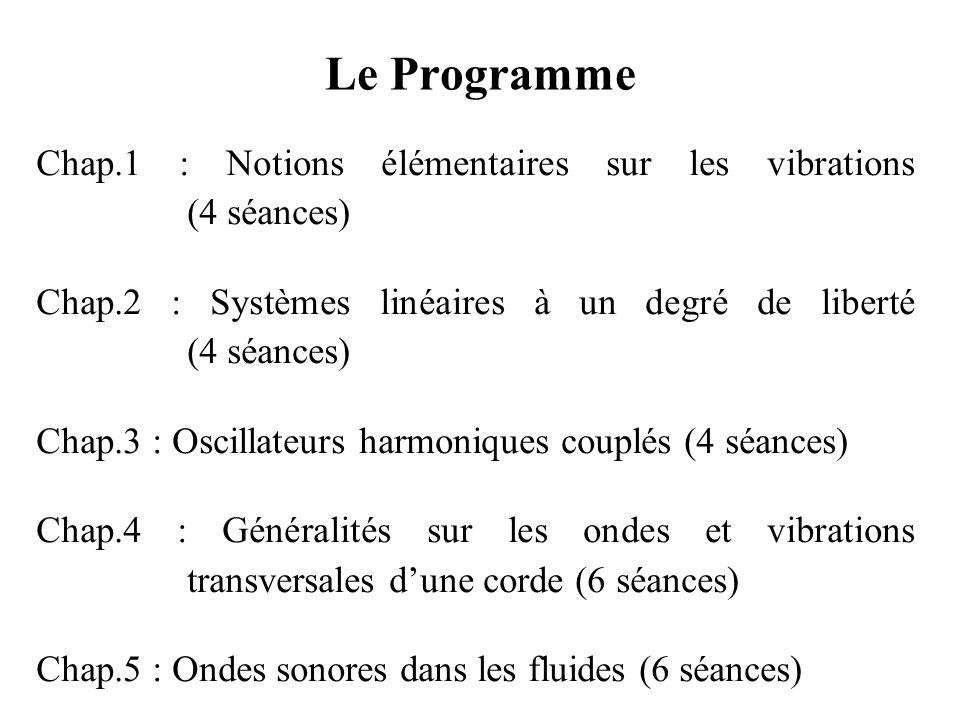 Le Programme Chap.1 : Notions élémentaires sur les vibrations (4 séances)