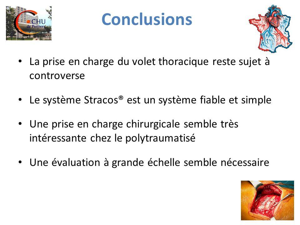 Conclusions La prise en charge du volet thoracique reste sujet à controverse. Le système Stracos® est un système fiable et simple.