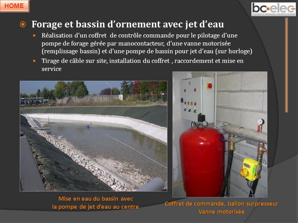 Forage et bassin d'ornement avec jet d'eau