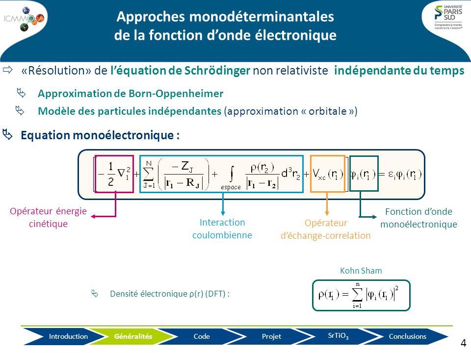 Approches monodéterminantales de la fonction d'onde électronique