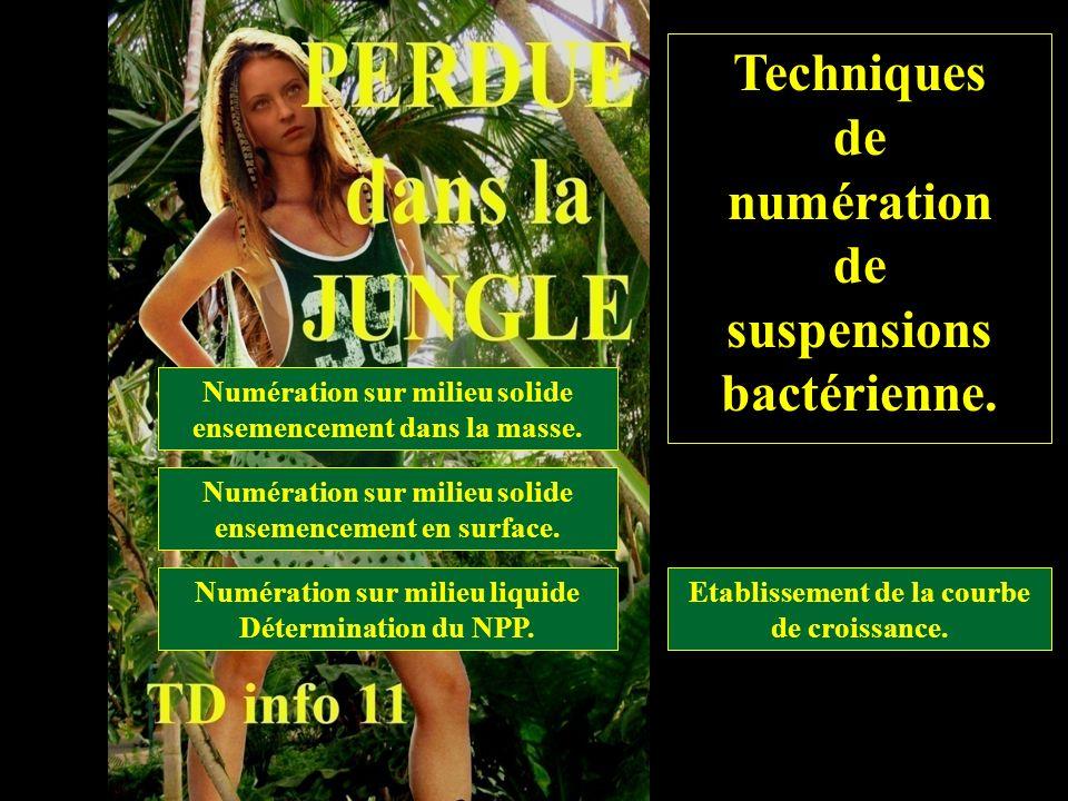 titre Techniques de numération suspensions bactérienne.