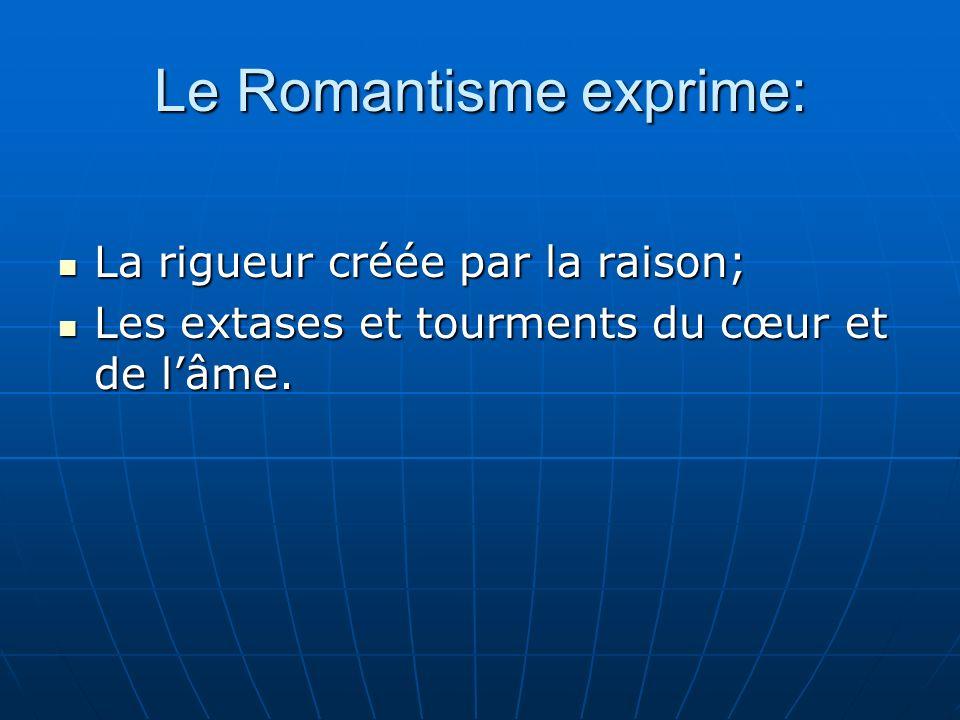 Le Romantisme exprime: