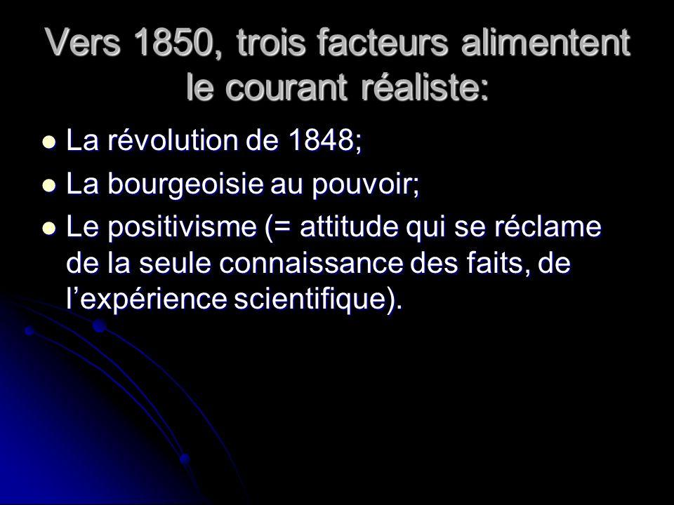 Vers 1850, trois facteurs alimentent le courant réaliste: