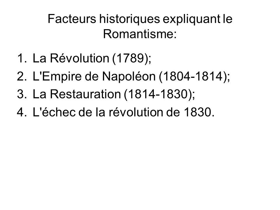 Facteurs historiques expliquant le Romantisme: