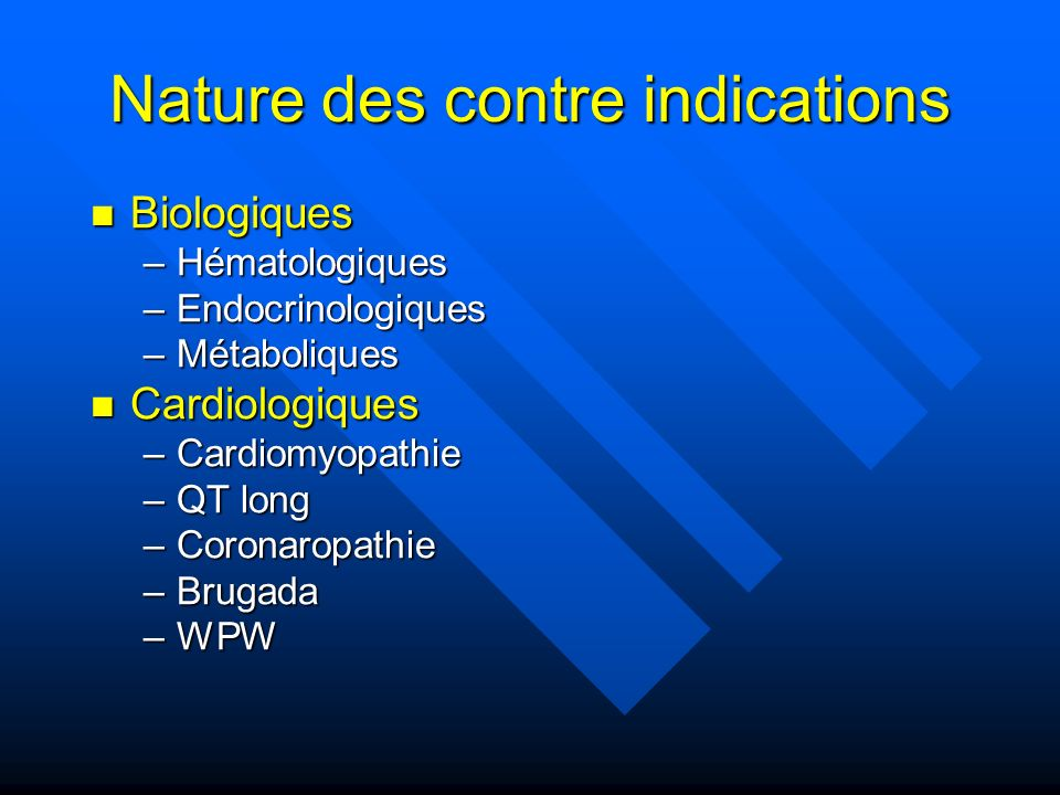 Nature des contre indications