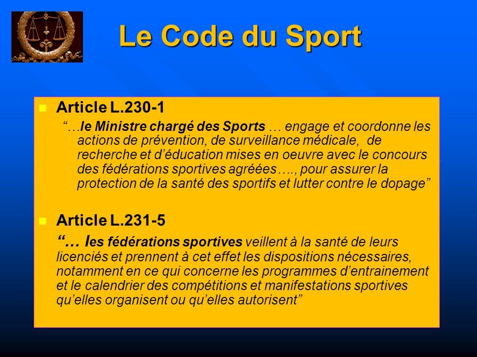 Le Code du Sport Article L.230-1 Article L.231-5