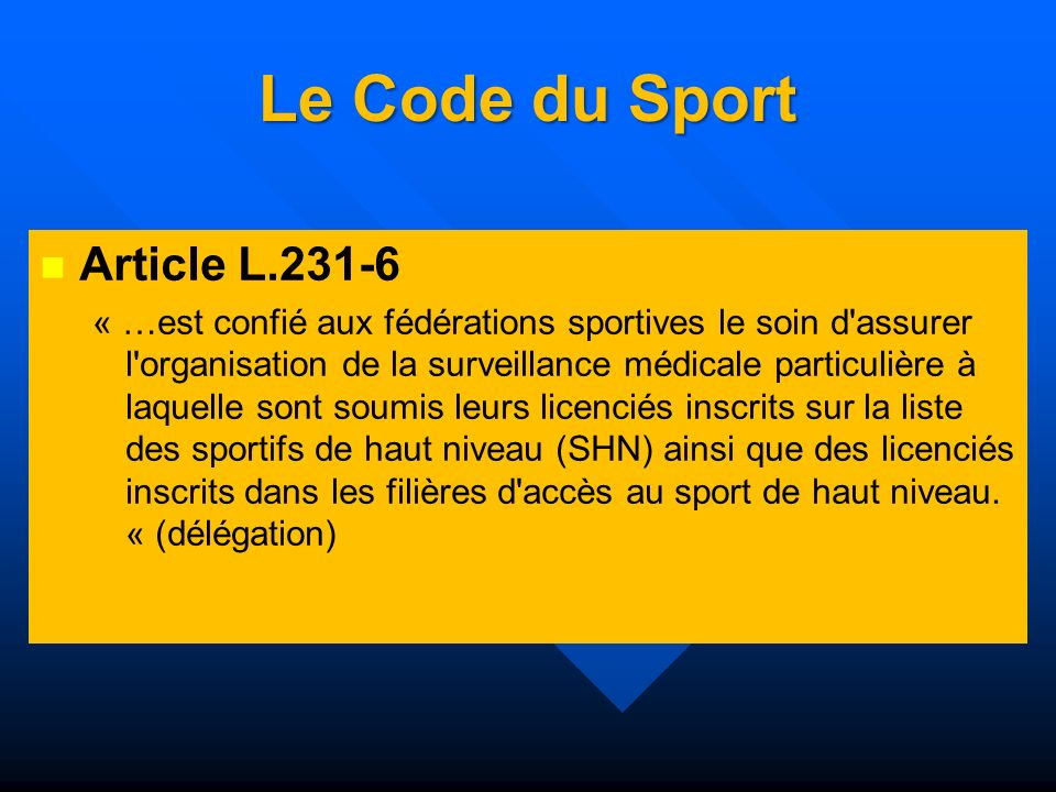 Le Code du Sport Article L.231-6