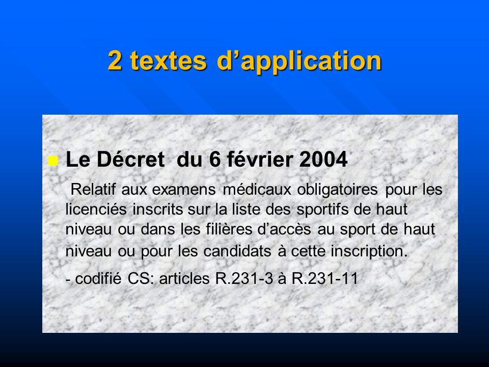 2 textes d'application Le Décret du 6 février 2004