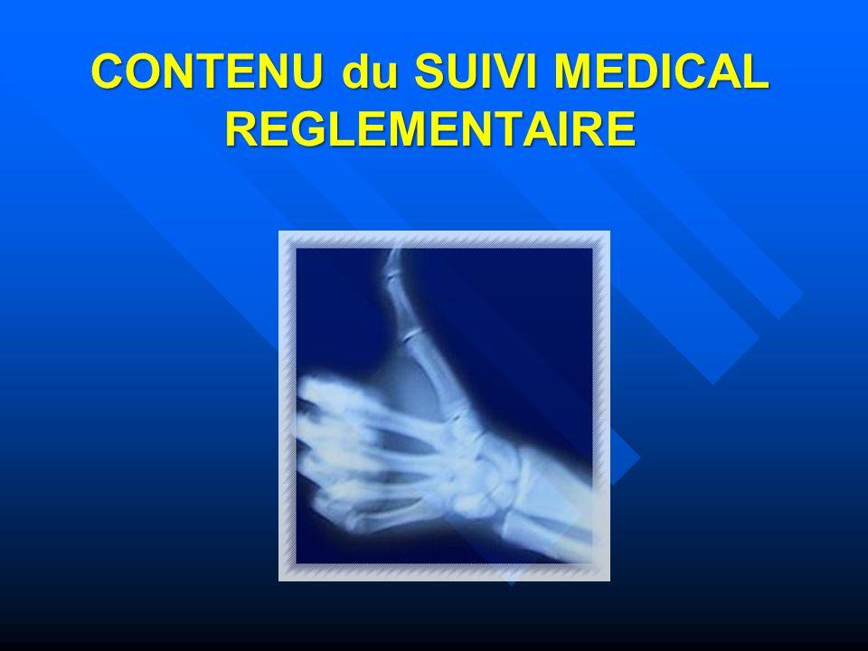 CONTENU du SUIVI MEDICAL REGLEMENTAIRE