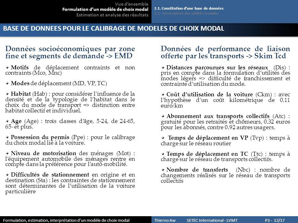 BASE DE DONNEES POUR LE CALIBRAGE DE MODELES DE CHOIX MODAL