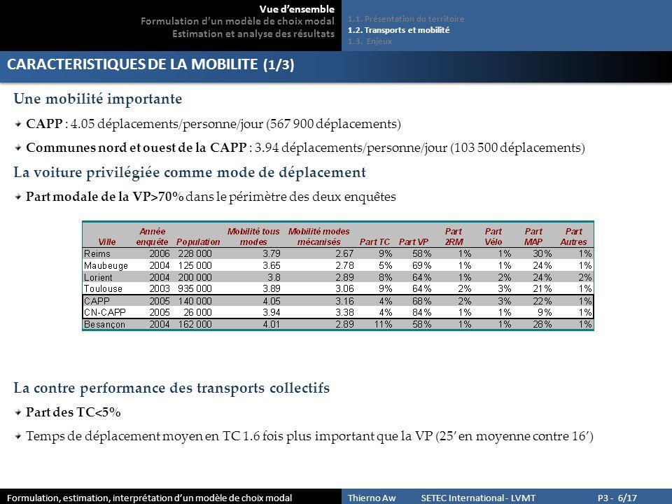 CARACTERISTIQUES DE LA MOBILITE (1/3)