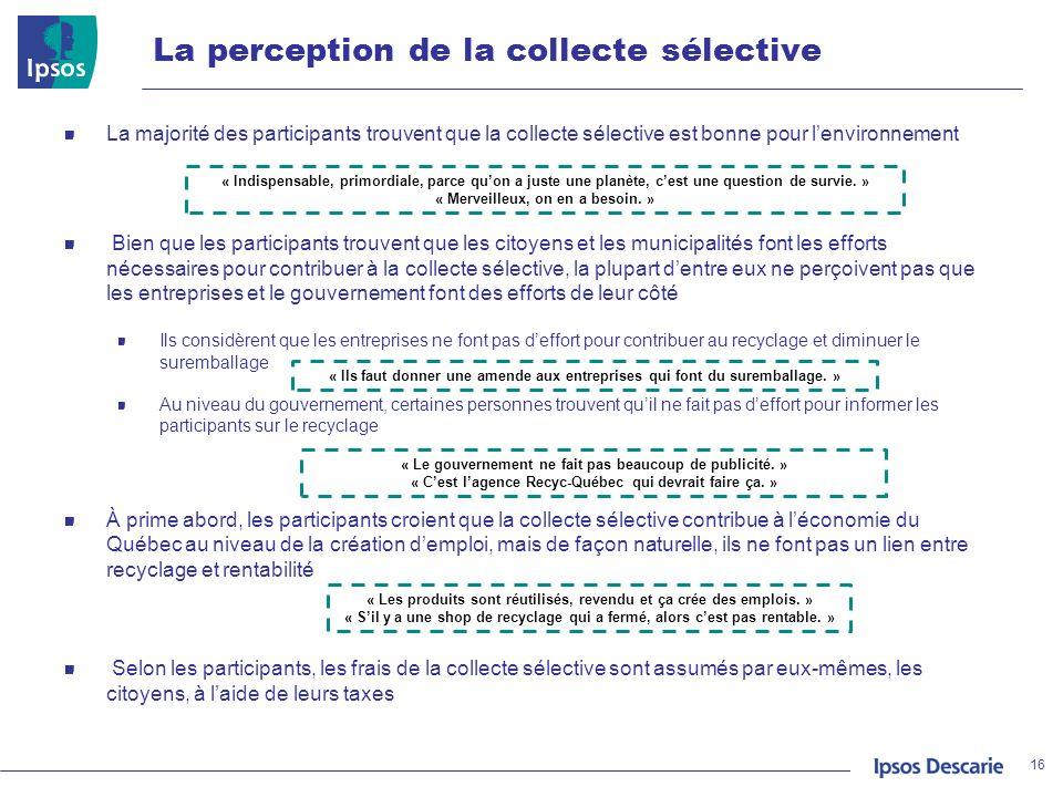 La perception de la collecte sélective