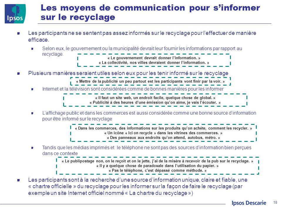 Les moyens de communication pour s'informer sur le recyclage