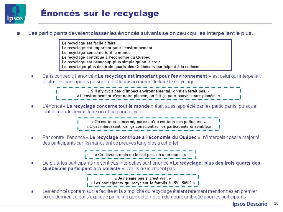 Énoncés sur le recyclage