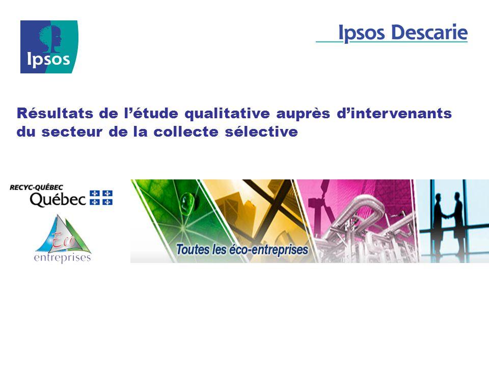 Résultats de l'étude qualitative auprès d'intervenants du secteur de la collecte sélective