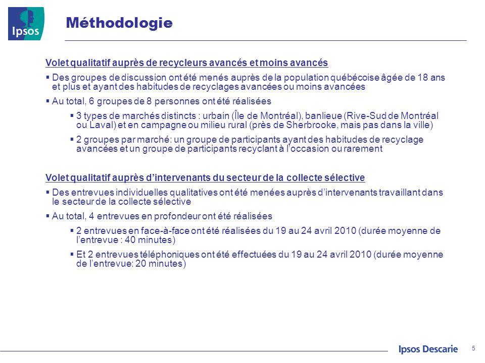 Méthodologie Volet qualitatif auprès de recycleurs avancés et moins avancés.