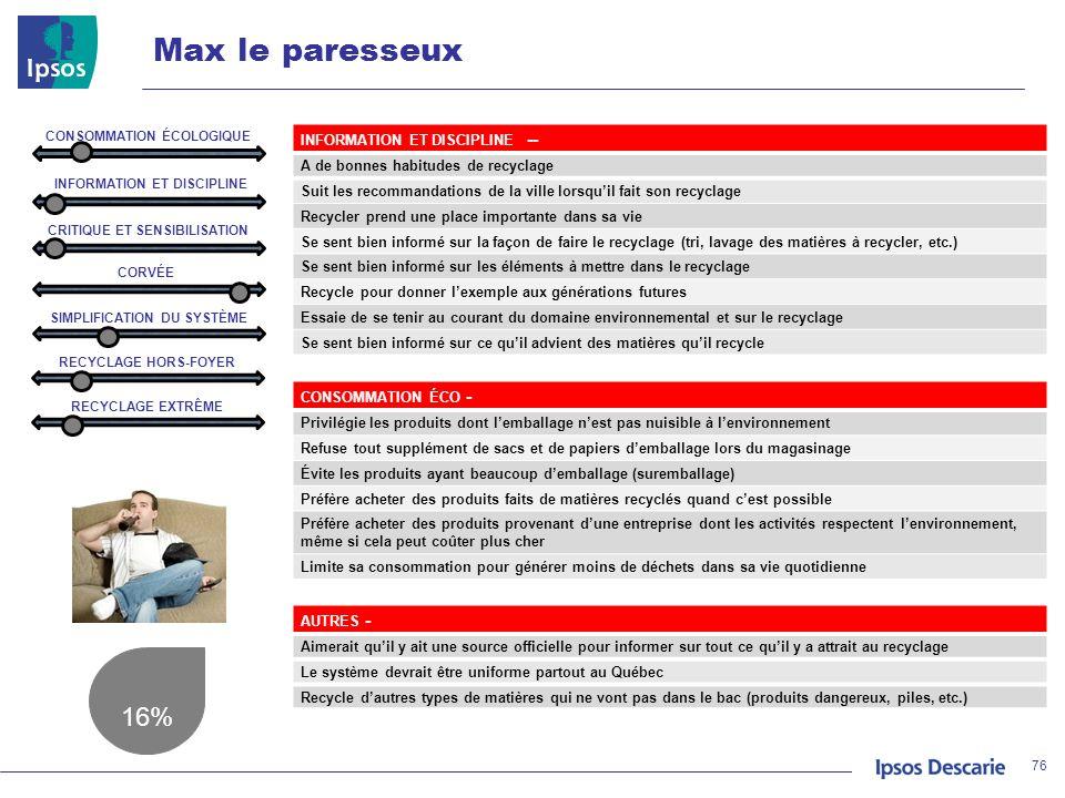 Max le paresseux 16% INFORMATION ET DISCIPLINE --