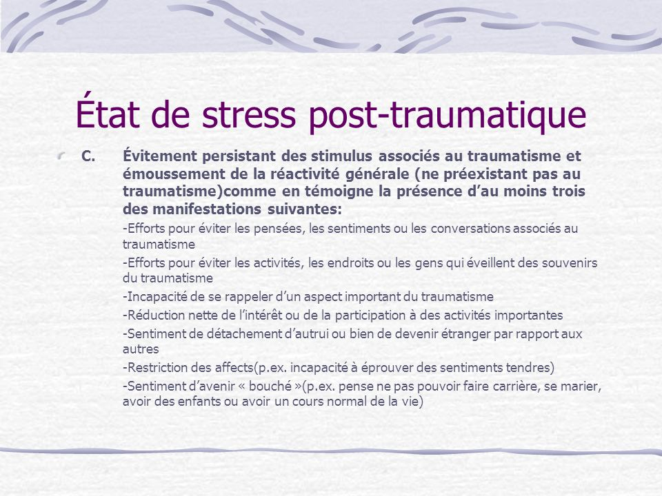 État de stress post-traumatique