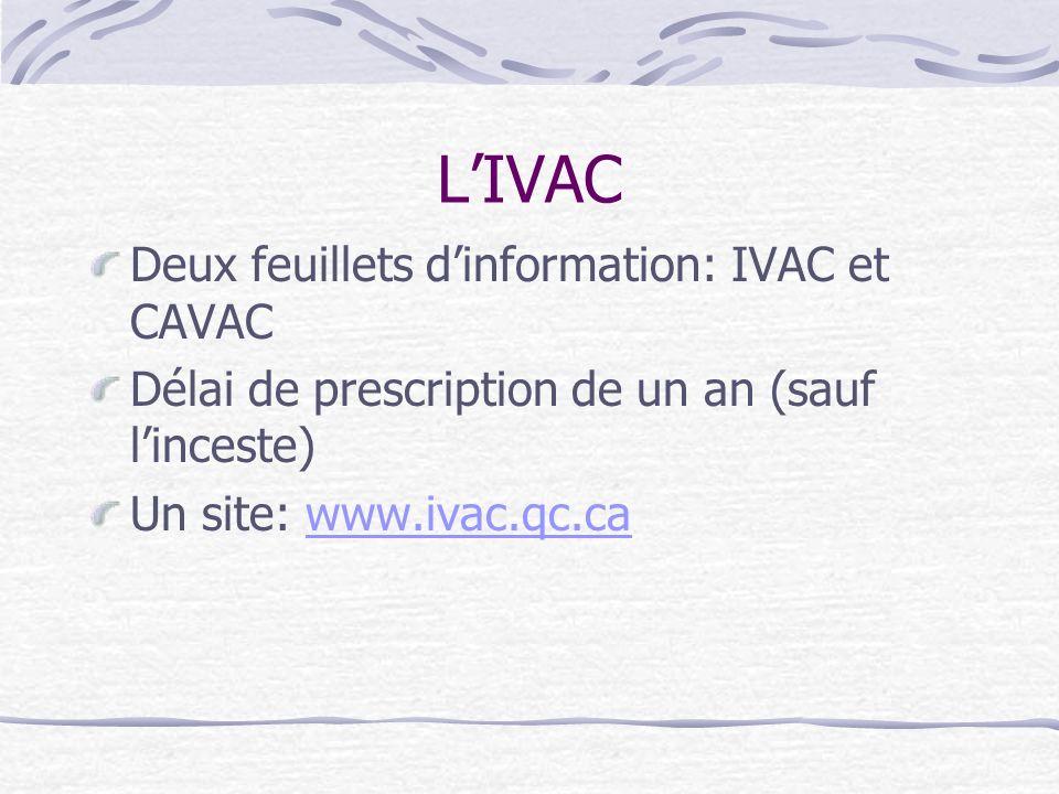 L'IVAC Deux feuillets d'information: IVAC et CAVAC