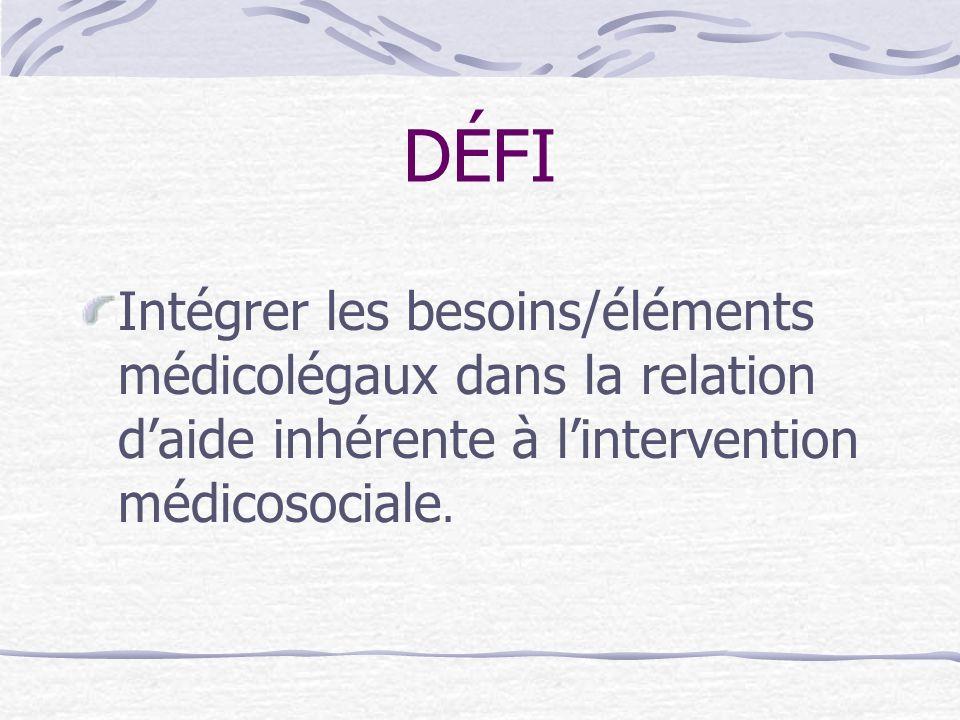 DÉFI Intégrer les besoins/éléments médicolégaux dans la relation d'aide inhérente à l'intervention médicosociale.