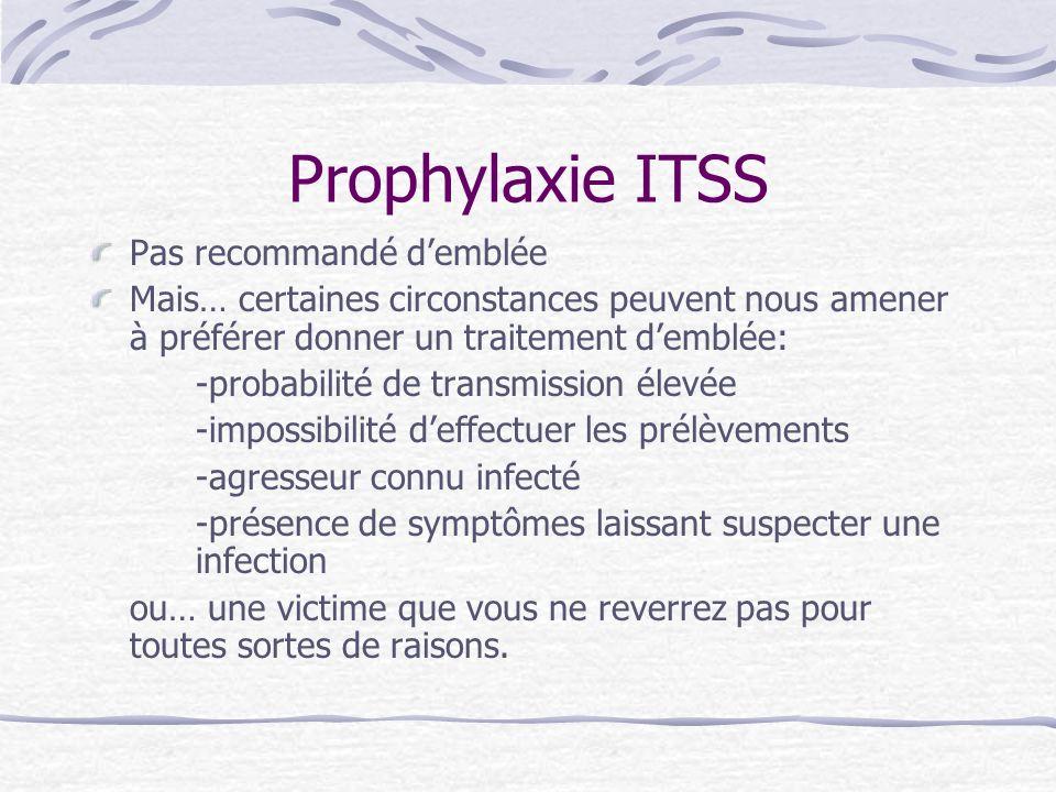 Prophylaxie ITSS Pas recommandé d'emblée