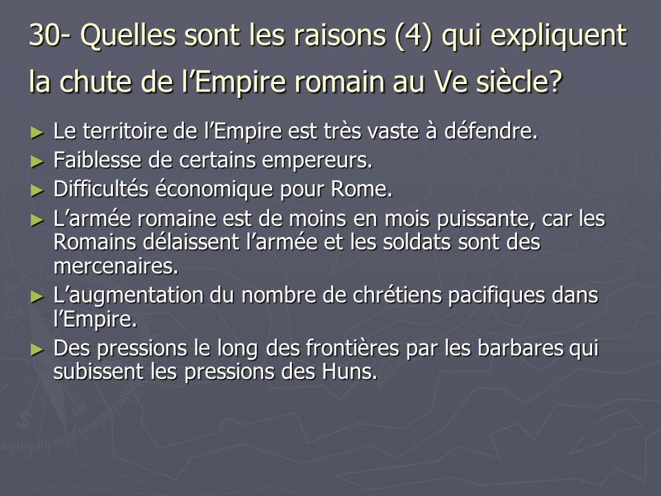30- Quelles sont les raisons (4) qui expliquent la chute de l'Empire romain au Ve siècle