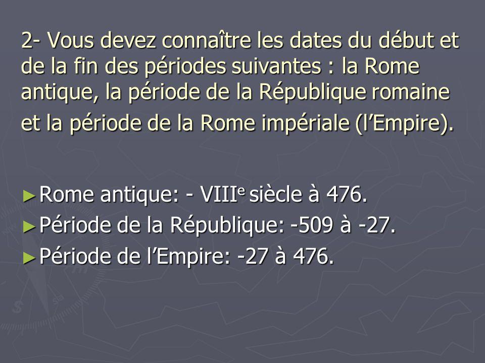 Rome antique: - VIIIe siècle à 476.