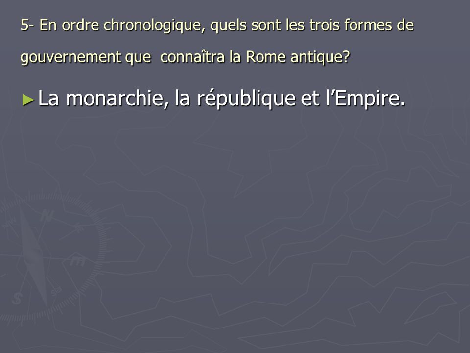La monarchie, la république et l'Empire.