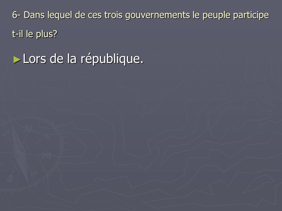 6- Dans lequel de ces trois gouvernements le peuple participe t-il le plus