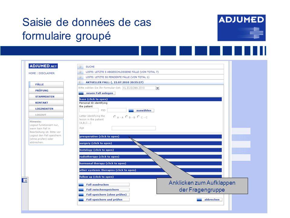 Saisie de données de cas formulaire groupé