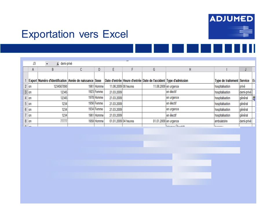 Exportation vers Excel