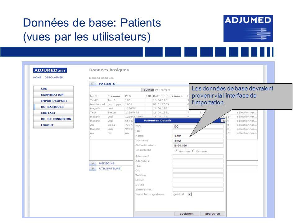 Données de base: Patients (vues par les utilisateurs)
