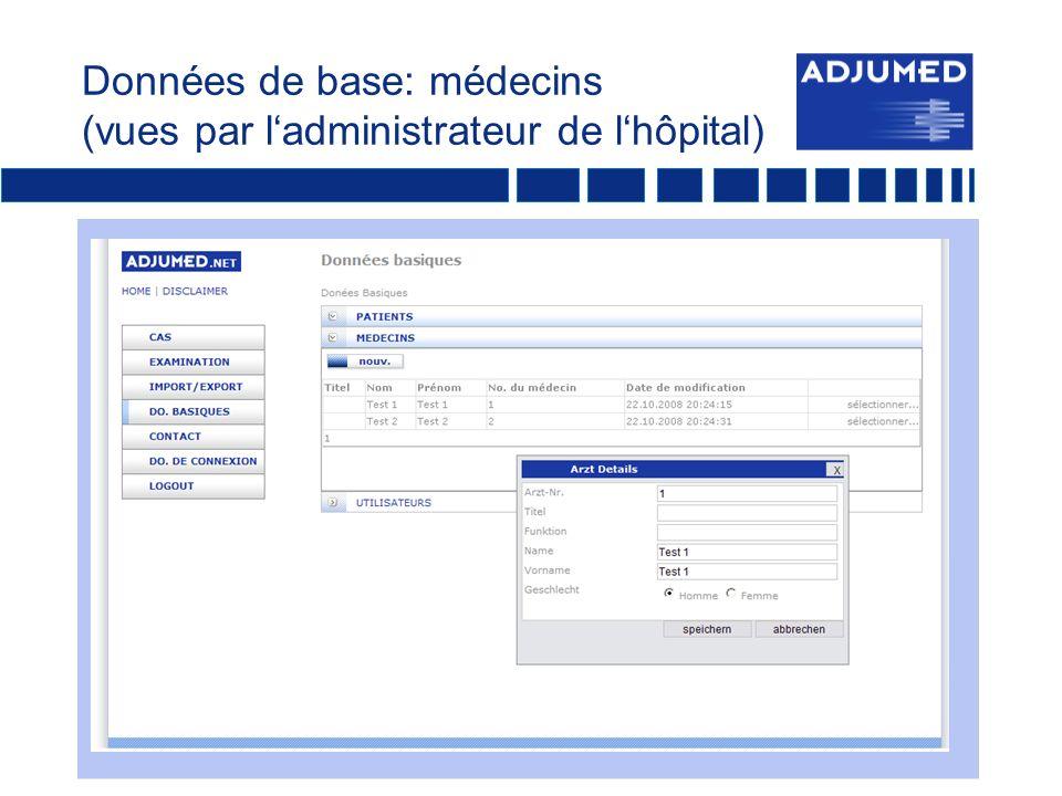 Données de base: médecins (vues par l'administrateur de l'hôpital)