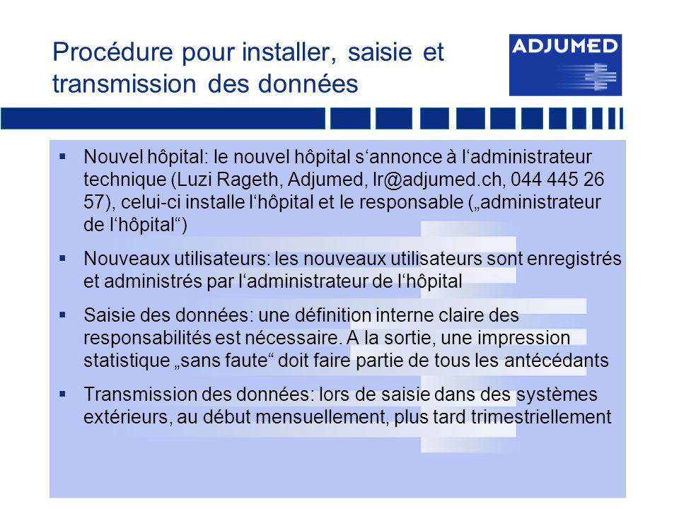 Procédure pour installer, saisie et transmission des données