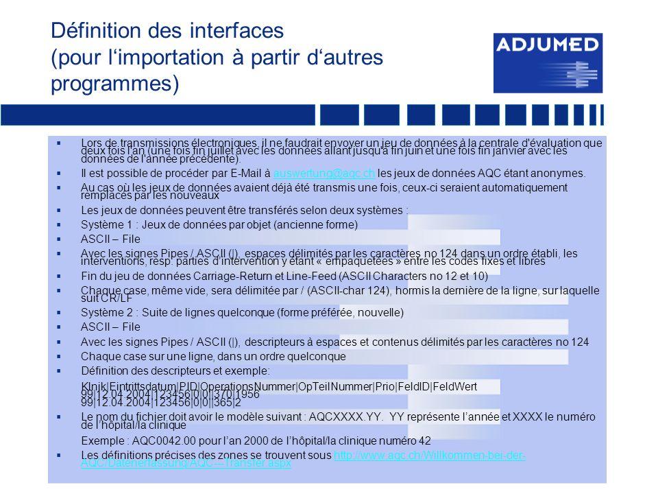 Définition des interfaces (pour l'importation à partir d'autres programmes)