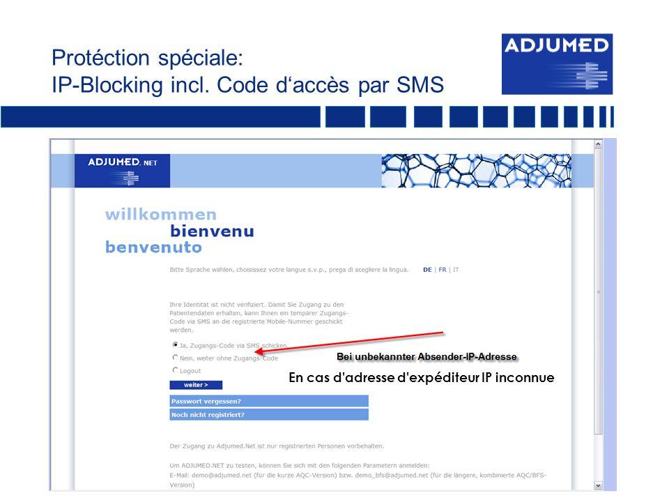 Protéction spéciale: IP-Blocking incl. Code d'accès par SMS