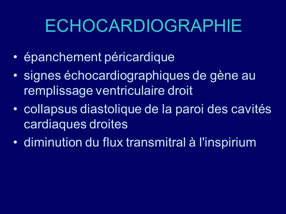 ECHOCARDIOGRAPHIE épanchement péricardique