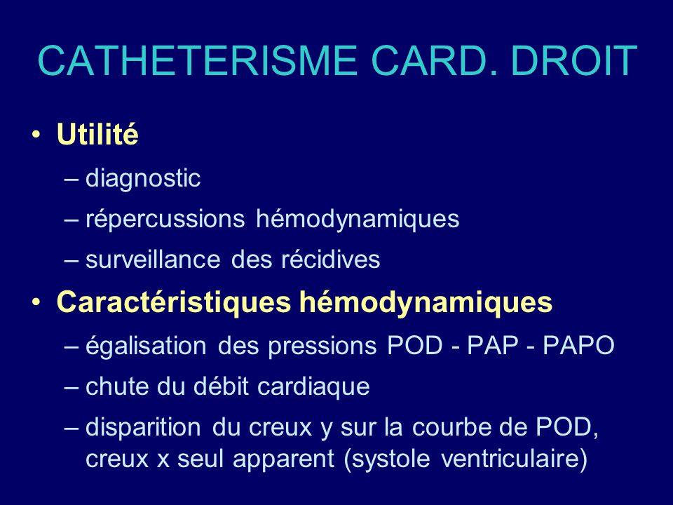 CATHETERISME CARD. DROIT